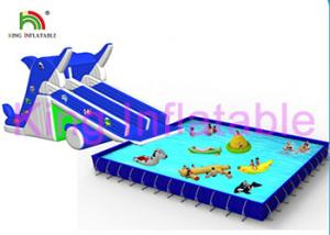 China Blue / White Inflatable Water Parks Multi Fun In Slide , Pool And Water Toys on sale