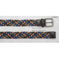 Assorted Colors Mens Stretch Belts With PU Part / Old Silver Buckle 3.5cm Width