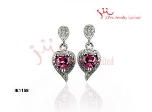 China Women 's Big Silver cz Stud Earrings With White And Red Cubic Stone Jewellery For Marriage on sale