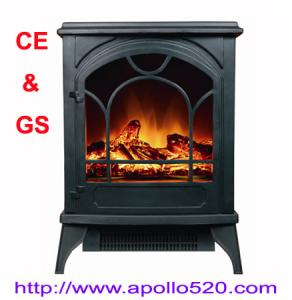 China Floor Standing Electric Fireplace in black on sale