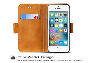 China Customized Yellow Genuine Leather Flip Case / iphone 5s 5se Real Leather Case on sale