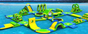 China Inflatable Amusement Park Giant Water Sports Games / Floating Island For Ocean on sale