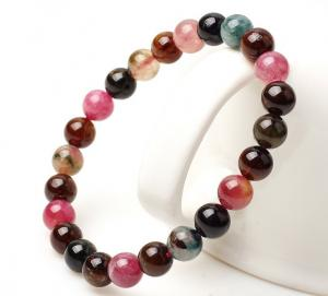 China Tourmaline beaded bracelets, October birthstone, multicolor gemstone bracelets on sale