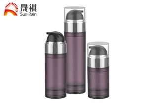 China PETG purple airless pump cosmetic bottle packaging with MS lid on sale