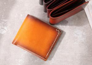 China Yellow Bifold Wallet Vegetable Tanned Genuine Leather Wallets for Men on sale