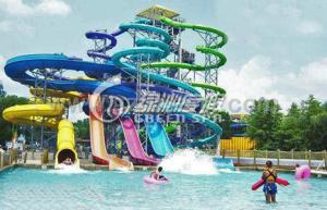 China Family Open Spiral Slide Water Park Equipment , Blue Red Green Fiberglass Spiral Water Slide on sale