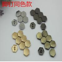 China Super cheaper factory price bag fitting small flat six-sided nickel color metal buckles and rivets on sale