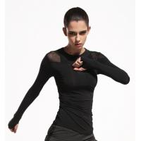 Fast Dry Fit Womens Long Sleeve Sports Top Black Color Machine Wash Without Shrink