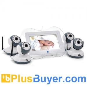 China Digital Wireless Baby Monitor with 4 Cameras (7 Inch Screen, 1/4 CMOS, Night Vision, 100m) on sale