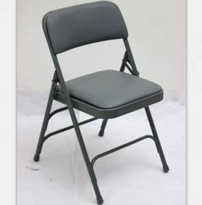 China Factory price upholstered Vinyl metal folding chair Factory price metal fabric office folding chair on sale