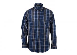 China Custom Logo Casual Mens Cotton Shirts Dyed Yarn Check Single Button Closure Type on sale