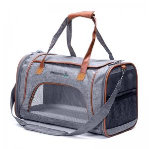 China Grey Airline Approved Pet Carrier Bag For Small Dogs Fits Underneath Airplane Seat on sale