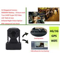 Live Monitoring 3g Wifi Gps Police Body Cameras , Body Worn Camera 1440p Resolution