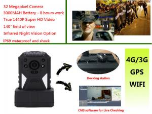 China Live Monitoring 3g Wifi Gps Police Body Cameras , Body Worn Camera 1440p Resolution on sale