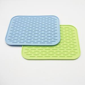 China Wholesale silicone dish mat heat resistant trivet glass cup collapsible kitchen custom dish drying mat on sale