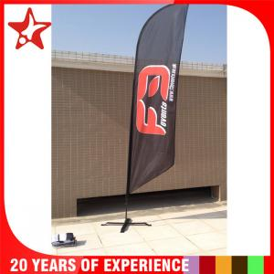 China Single Sided Bow advertising feather flags with black cross base and pvc water bag supplier
