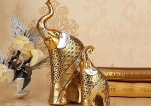 China 200 Gram Animal Resin Crafts Gold Color Elephant Figurine Statue on sale