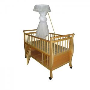 China Neutral Wood Automatic Baby Swing Bed Cot for Boys , Wooden Baby Cribs on sale