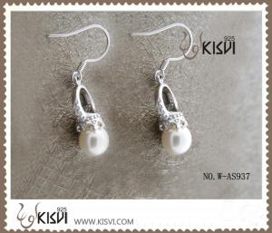 China OEM / ODM customed 925 sterling silver gemstone earrings with imitated pearl W-AS937 on sale