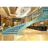 China various design curved wrought iron stair railings Prefabricated Steel Wood Staircase on sale