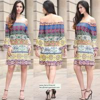 China strapless short printed women dress with pattern design in puff sleeve on sale