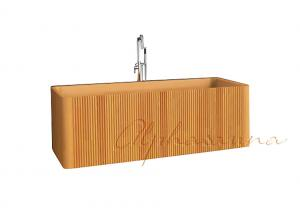 China Freestanding Natural Solid Rectangular wood bath tub / soaking tub OEM on sale