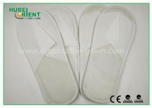 China White Disposable Hotel Slipper / Closed toe One Time Use Nonwoven Slipper EVA Sole on sale