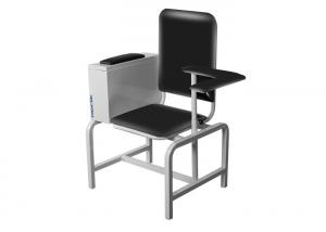 China Black Manual Blood Donor Chair With Adjustable Armrest and Cabinet on sale