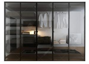 China Italian Style Glass Door Small Wardrobe With Drawers , Modern Freestanding Wardrobe Closet on sale