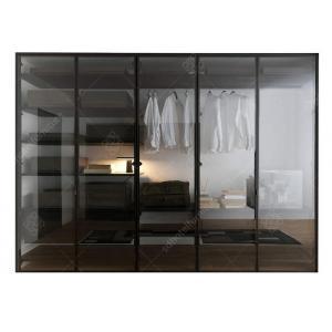China Italian Style Glass Door Small Wardrobe With Drawers , Modern Freestanding Wardrobe Closet on sale