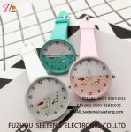 custom logo silicone plastic watch with all normal color available fashional watch  Multicolor strap Cute watch