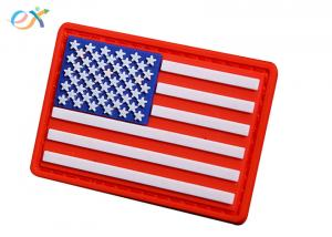 China Embossing Military USA flag Soft PVC Rubber Patch With Loop and Hook Backing on sale