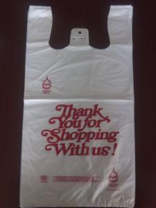 China 300+160*525mm 13mic White  Plastic T-Shirt Shopping Bag - 1000/Case , HDPE Material on sale