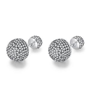 China 925 Sterling Silver Classic Pavé Drops Earring Studs Clear CZ Round Stud Earrings for Women on sale