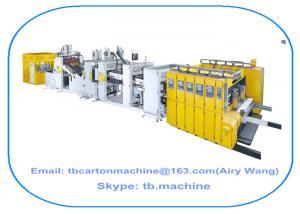 China cadena de producción acanalada de la caja del cartón en línea gluer que corta con tintas de la impresión en color 4 que ata con correa la máquina on sale