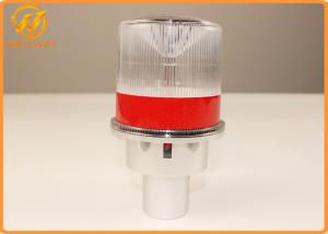 China Road Safety White ABS LED Solar Beacon Traffic Warning Lights 60 Flashes/Min on sale