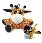 Puzzled 6 Inch Stuffed Baby Giraffe , Soft Big Eyed Stuffed Animals With Giraffe Keychain