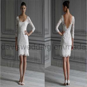 China Long Sleeve Short Lace Wedding Dress Prom Dress (H-56) on sale