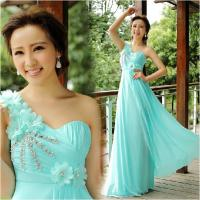 New arrival 2014 sky blue sequins flower one shoulder floor-length chiffon long prom dress W072902 custom made