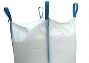 Quality Cross Corner White PP Woven Bulk Bag Flat Bottom / Side Discharge Design for sale