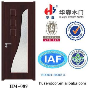 China engineer paint-free interior wooden pvc door glass inserted on sale