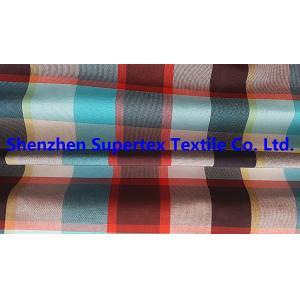 China Men's Shirt Custom Nylon Fabric Yarn Dyed Poplin Red Check 95GSM 228T on sale