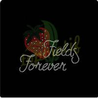 China Rhinestone Design Strawberry Fields Forever Iron On T Shirt Motif on sale
