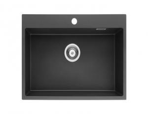 China 26 Inch Black Single Bowl Drop-in Granite Kitchen Sink/Quartz Sink on sale