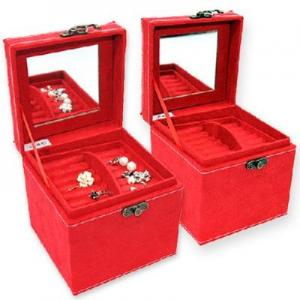 China angora three-tier jewelry box storage box large red on sale