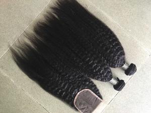 China Coarse Yaki Real Peruvian Human Hair Weave Kinky Straight Hair Extensions on sale