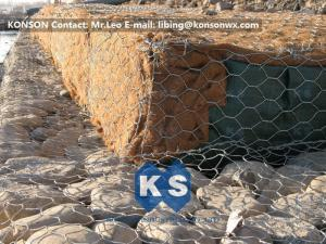 China Double-Twisted Hexagonal Gabion Mesh PVC Coated Wire Stone Gabion Cages on sale