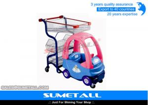 China Popular Plastic Body Children Shopping Trolley With Child Car Seats For Grocery Store on sale