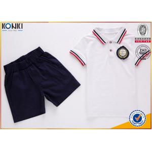China Custom school uniform polo t shirts with stripe collar and cuff  for boys and girls on sale