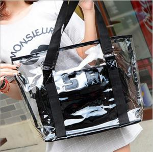China Ready To Ship: Clear PVC Large Beach Tote Bag Sets Top Handle Handbag-Zipper Purses Wallets Women 2pcs In 1 Hand Bag on sale